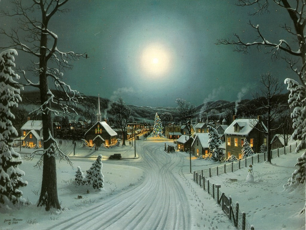Christmas Landscape Snow Wallpaper